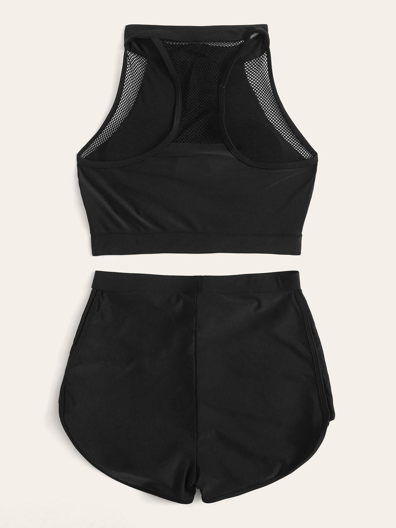 Zipper-up Racerback Top With Shorts 2 Piece Swimsuit - S - High Waist Swimwear