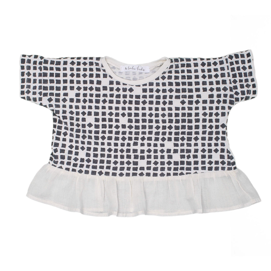 Confetti Grid Top with Frill, ivory