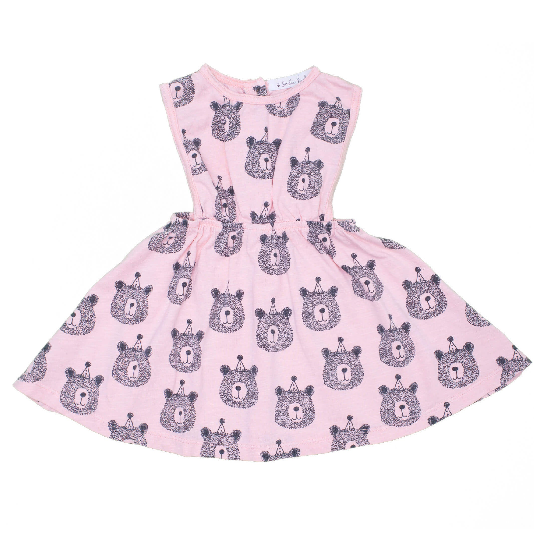 Bears Print Dress, soft pink