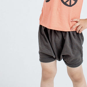 Solid Charcoal Slouch Shorts, charcoal