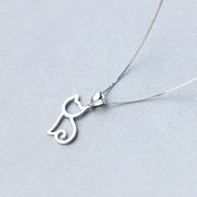 925 sterling silver cat pendant necklace snow radiance 925 sterling silver cat pendant necklace aloadofball Choice Image