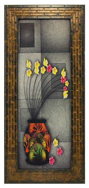 Ganesha With Flowers In Vases Set Of 3 Framed Wall Hanging Art