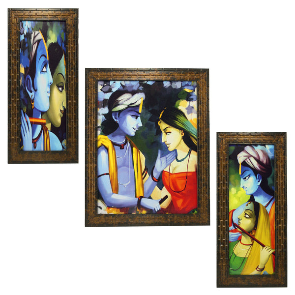 Radha Krishna In Canvas Look Set Of 3 Framed Wall Hanging Art