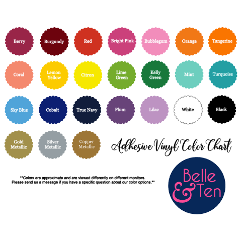 Vinyl color chart by Belle and Ten