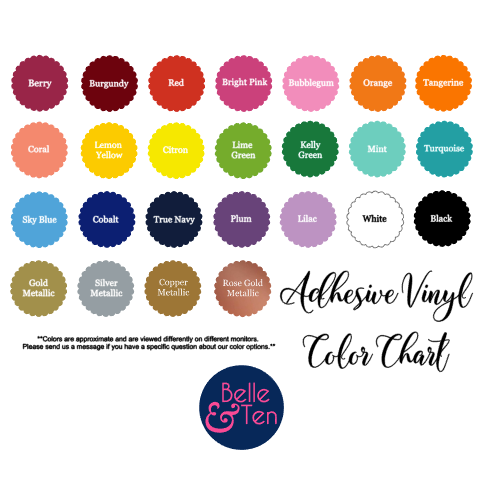 Belle & Ten adhesive vinyl color chart