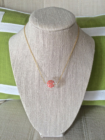 Monogrammed Handblown Glass Bubble Necklace - Gold
