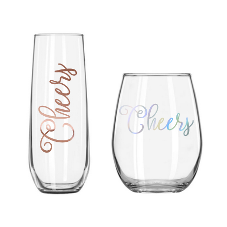 close up of cheers stemless champagne and wine glasses