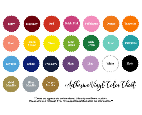 belle and ten monogram vinyl color chart