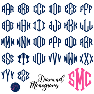 Diamond Monogram Vinyl Decal