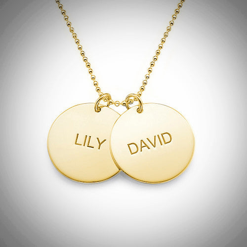 Engraved disc names gold necklace