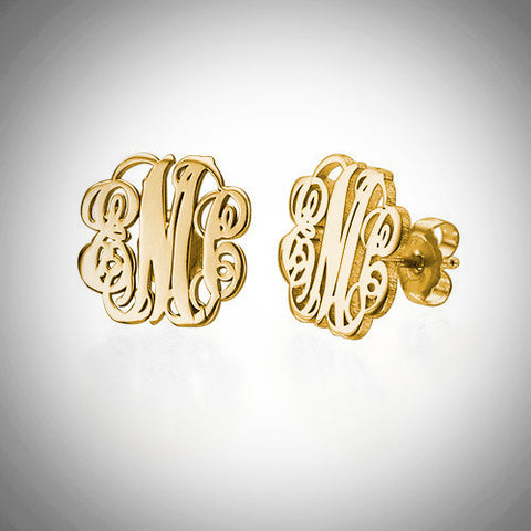 Gold interlocking monogram earrings