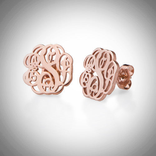 Rose gold interlocking monogram earrings