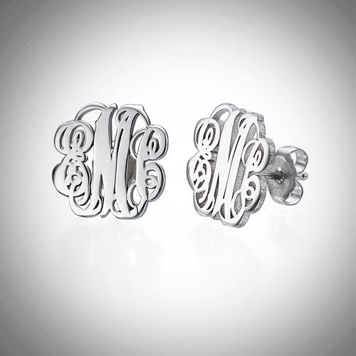 Sterling silver interlocking monogram earrings