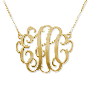 "XXL 2"" Fancy Monogram Necklace in Gold, Rose Gold or Sterling Silver"