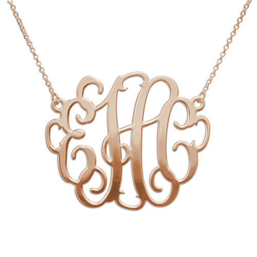 "XL 1.5"" Fancy Monogram Necklace in Gold or Sterling Silver"