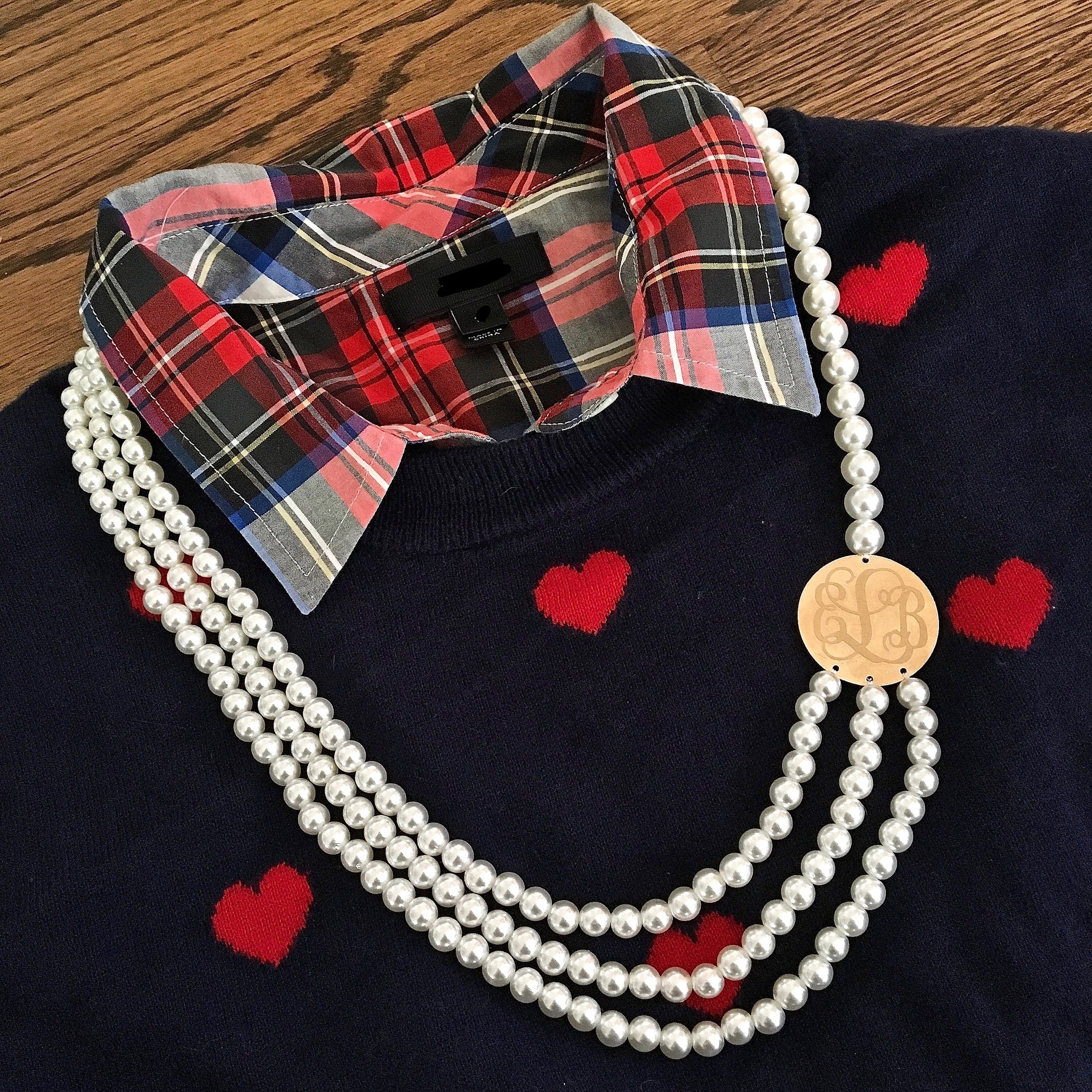 Monogrammed Three Strand Pearl Necklace
