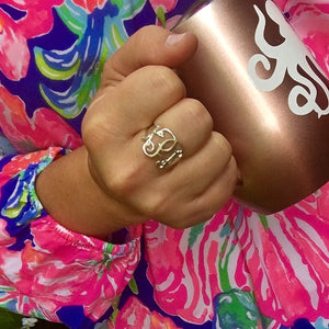close up of interlocking monogram ring