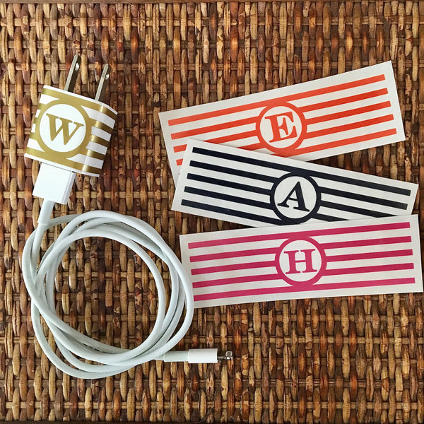Striped personalized iphone/ipad charger wrap