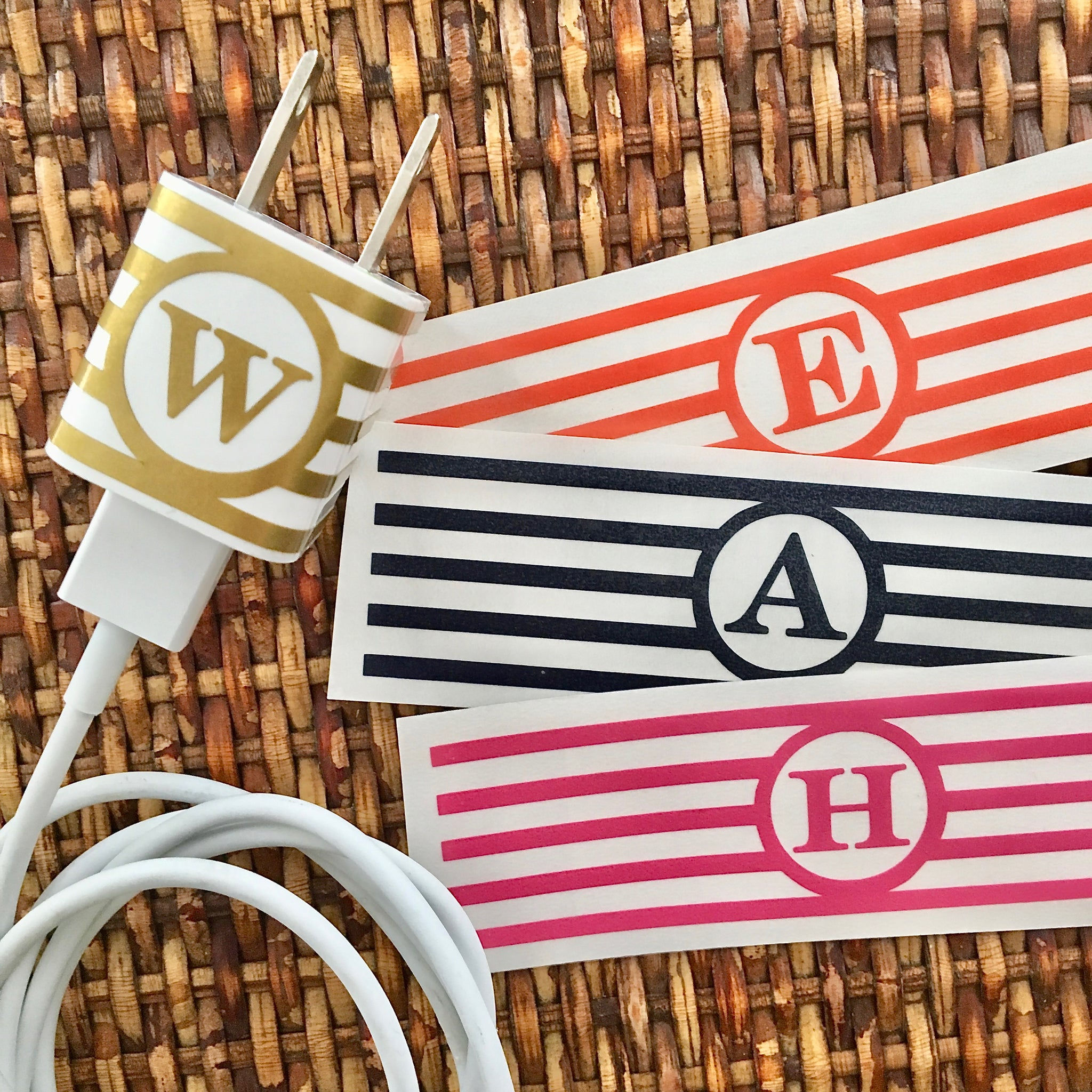 Striped personalized iphone/ipad charger wrap close up