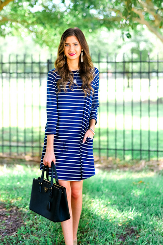 Emily 3/4 Sleeve Swing Dress
