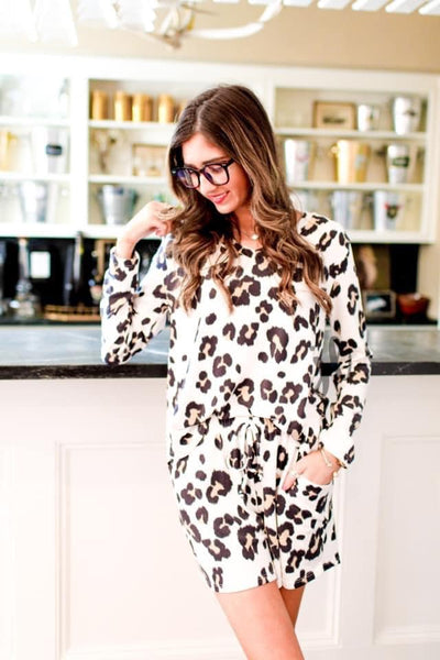 Jacie Long Sleeve Leopard Lounge Wear Set