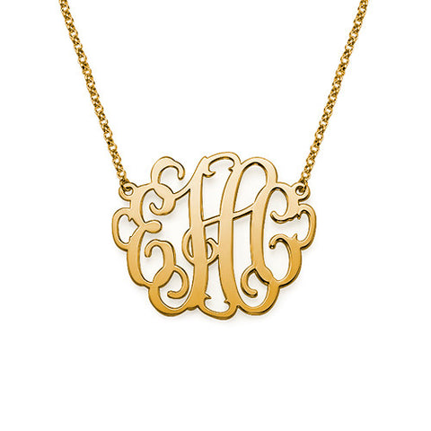 large gold interlocking monogram necklace