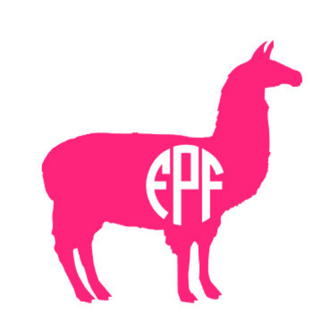Close up image of monogrammed llama decal in bright pink