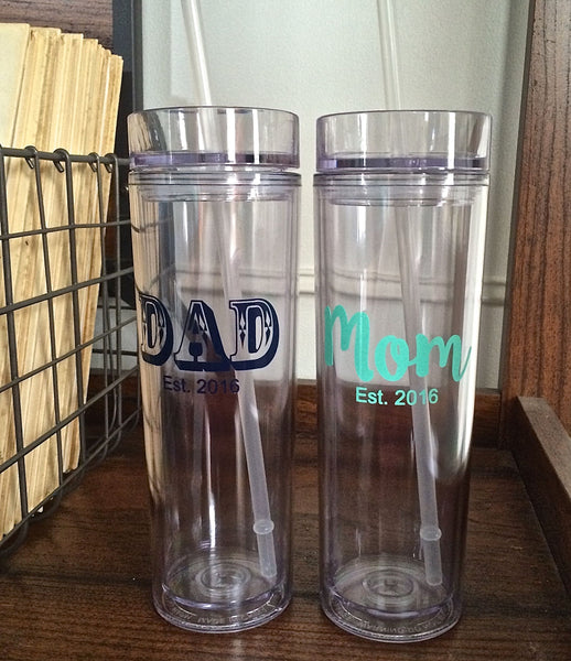 Mom Est. and Dad Est. Skinny Tumblers