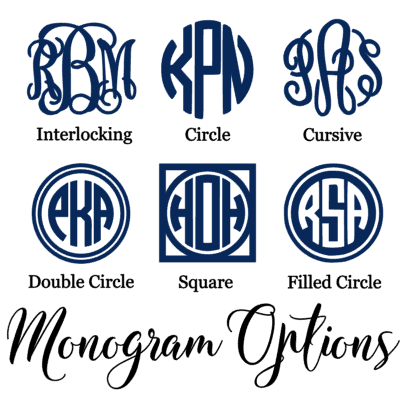 belle and ten monogram design options