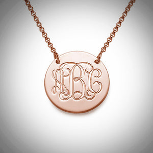 Monogrammed Disc Necklace in Gold, Sterling Silver or Rose Gold