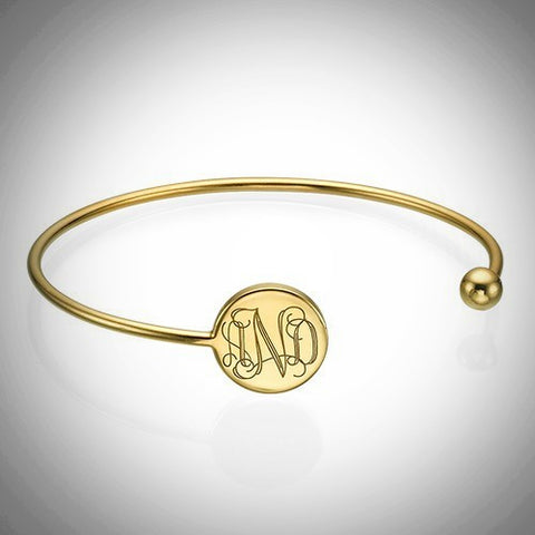 Monogrammed Adjustable Bangle Bracelet in Gold or Sterling Silver