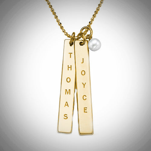 Gold bar name necklace with pearl