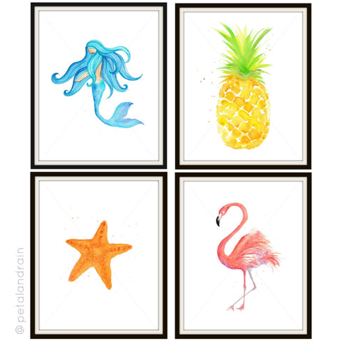 Set of 4 endless summer watercolor prints