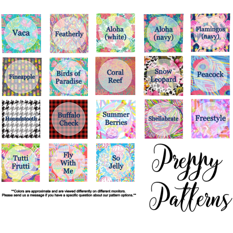 Preppy patterns print chart