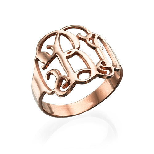 rose gold interlocking monogram ring