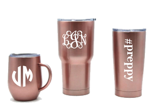 Rose gold stainless steel tumblers by Belle and Ten