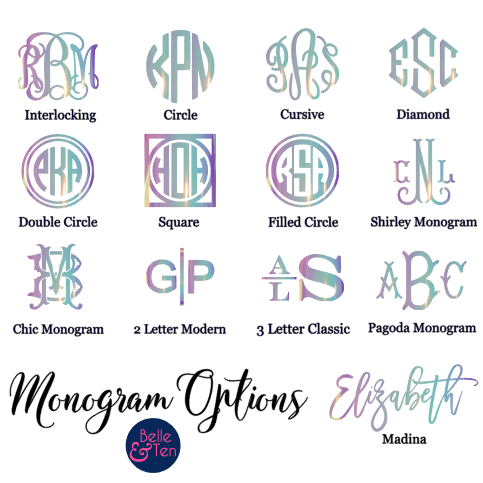 Opal Holographic Monogram Decal