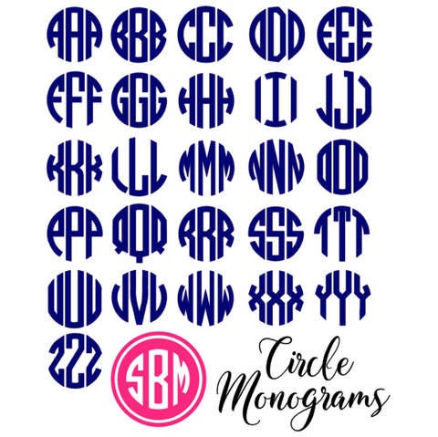 Filled Circle Monogram Decal