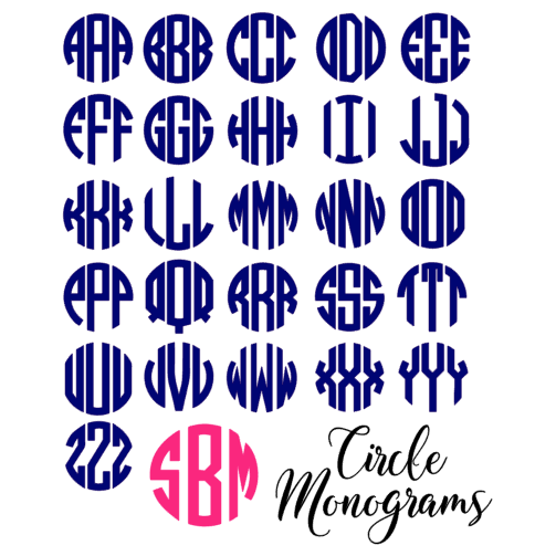 Preppy Print Circle Monogram Decal Belle Ten