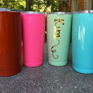 Monogrammed Powdercoated Stay Cold Stainless Steel Tumbler - 20oz.
