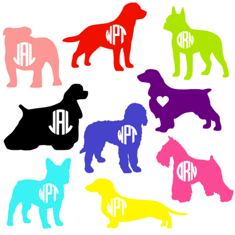Monogrammed Dog Decal