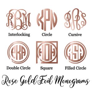 Rose Gold Foil Monogram Decal