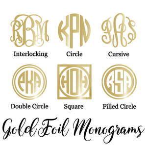 Gold Foil Monogram Decal