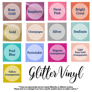 glitter monogram decal color chart