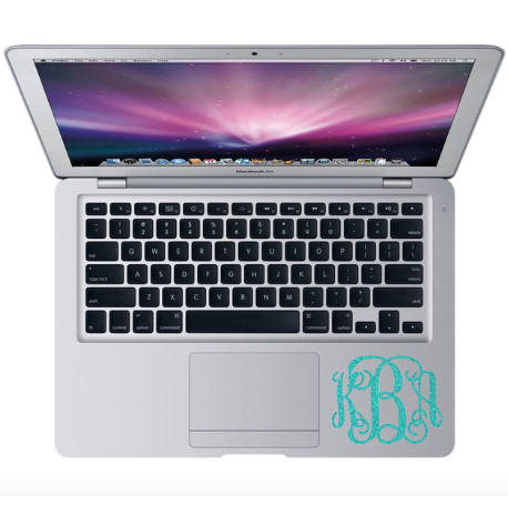 glitter monogram decal on macbook