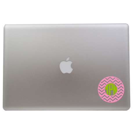 Chevron circle mongrammed decal on macbook