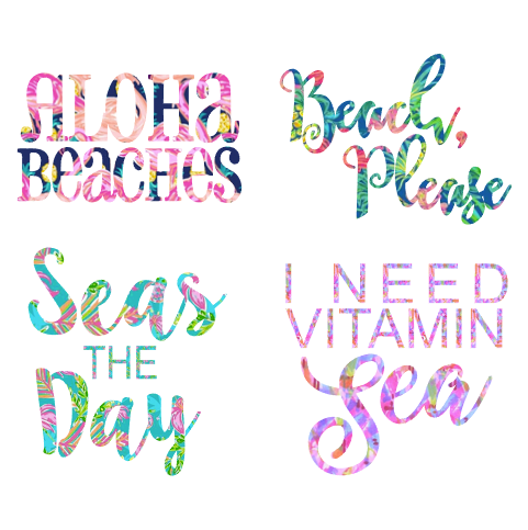 Cheeky Beach Phrase Decal in Preppy Print