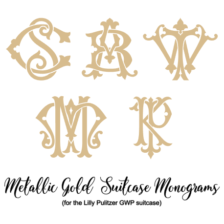 suitcase decal monogram examples
