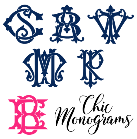chic monogram vinyl decal options