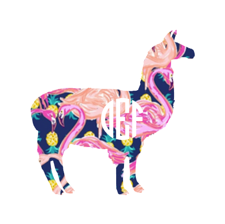 monogrammed llama decal in flamingos